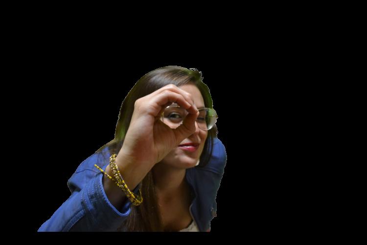 Servicio de Orientación para el Desarrollo y la Motivación Personal: imagen de Albora mirando a través de un agujero, formado con su propia mano. A su alrededor los siguientes términos: Habilidades de Comunicación, Liderazgo Emocional, Toma de decisiones, Autoestima, Reeducación Personal, Habilidades sociales, Nuevas Competencias